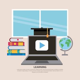 Leren laptop afstuderen cap en boeken
