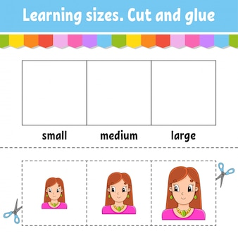 Leren maten. knip en lijm. gemakkelijk niveau. werkblad met kleurenactiviteit.