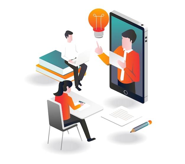 Leren met een smartphone in isometrisch ontwerp