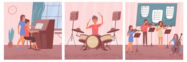Leren muziekset van vierkante composities met platte menselijke karakters die verschillende muziekinstrumenten onderwijzen en bestuderen