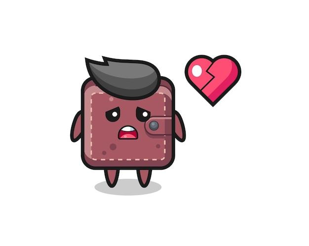 Leren portemonnee cartoon afbeelding is gebroken hart
