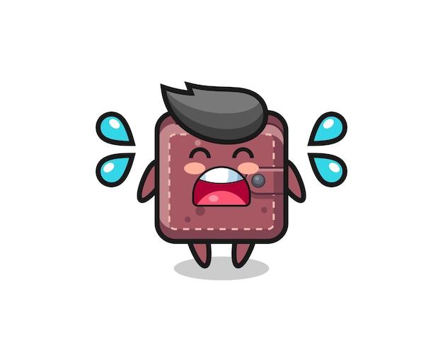 Leren portemonnee cartoon afbeelding met huilend gebaar