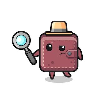 Leren portemonnee detective karakter analyseert een hoesje, schattig stijlontwerp voor t-shirt, sticker, logo-element