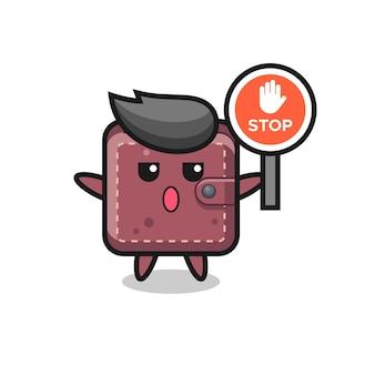 Leren portemonnee karakter illustratie met een stopbord
