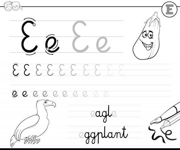 Leren schrijven van letter e werkboek voor kinderen