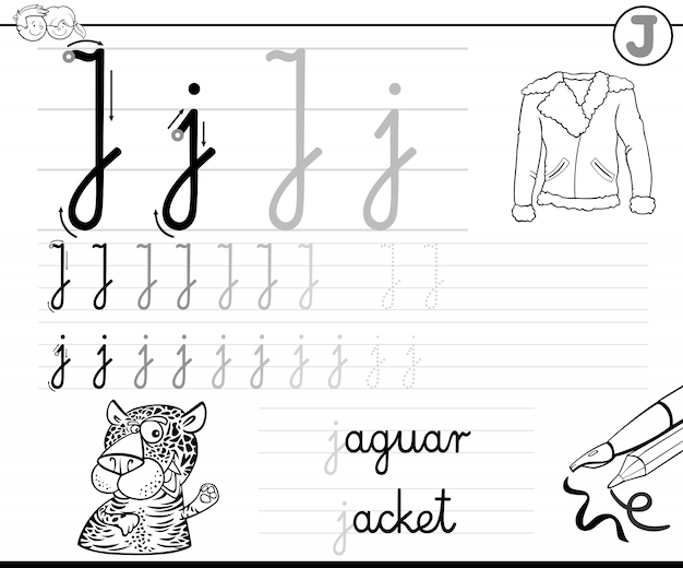 Leren schrijven van letter j werkboek voor kinderen