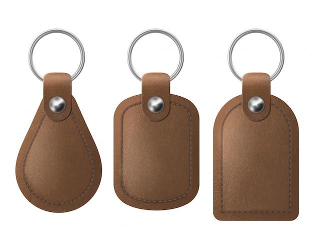 Leren sleutelhangers, set bruine sleutelhangers.