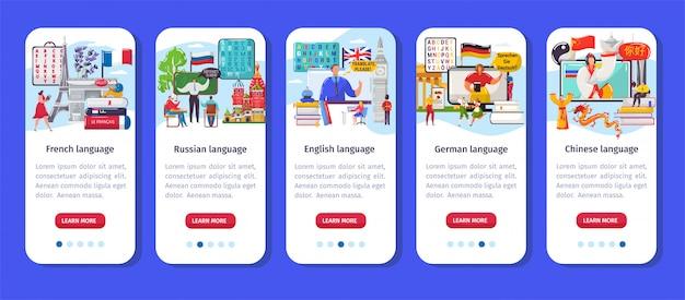 Leren taal app, crtoon mobiele smartphone applicatie-interface set voor het trainen van vreemde talen