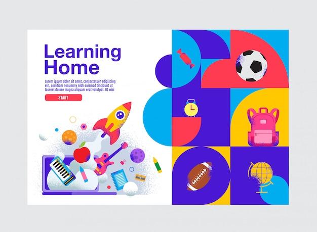 Leren thuis, onderwijs sjabloon voor spandoek, illustratie.