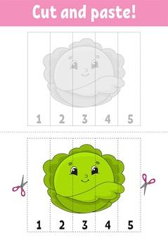 Leren van nummers 1-5. knip en lijm. kool karakter.