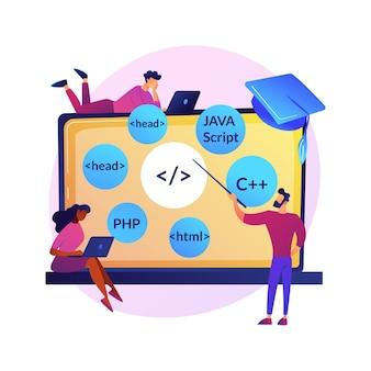 Leren van talen programmeren. cursussen over softwarecodering, klasse voor websiteontwikkeling, schrijven van scripts. it-programmeurs stripfiguren.
