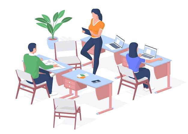 Les in de moderne universiteit. student onderzoekt kaart van de wereld op bureau. tiener werkt laptop. leraar met tablet controleert opdrachten. online gadgets en technologie leren. vector realistische isometrie