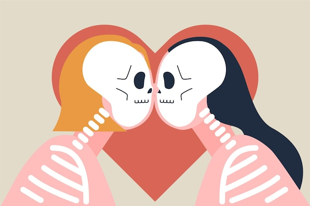 Lesbisch koppel kus in platte ontwerpstijl