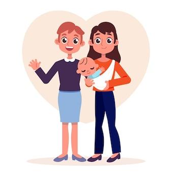 Lesbisch koppel met een geïllustreerd kind