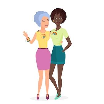 Lesbisch verliefd koppel. cartoon stijl mooie mooie lesbische vrouw. leuk meisjespaar.