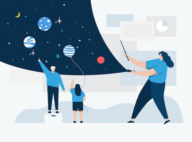 Lesgeven over ruimte, cartoon stijl illustratie