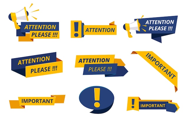 Let op badges. belangrijke berichten merken banners op waarschuwingsaankondigingsset