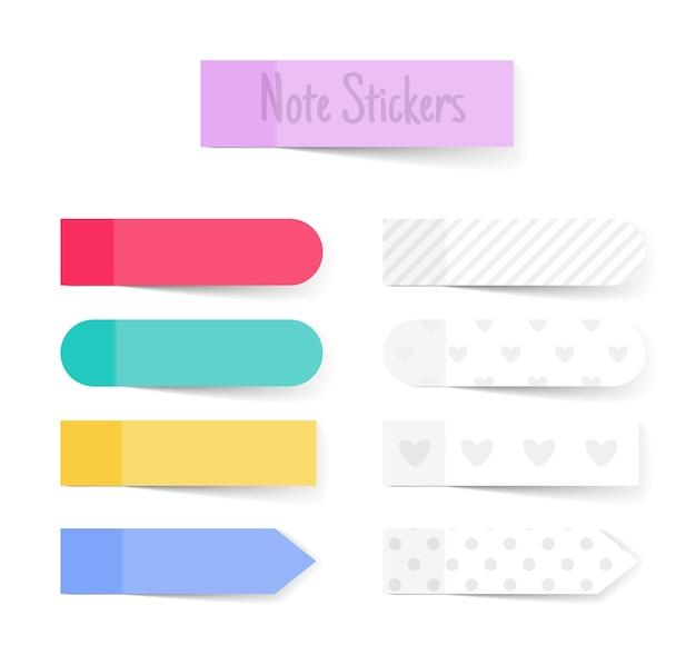 Let op papierstokken. kleurrijke en witte papieren notities, memo stickers vector set