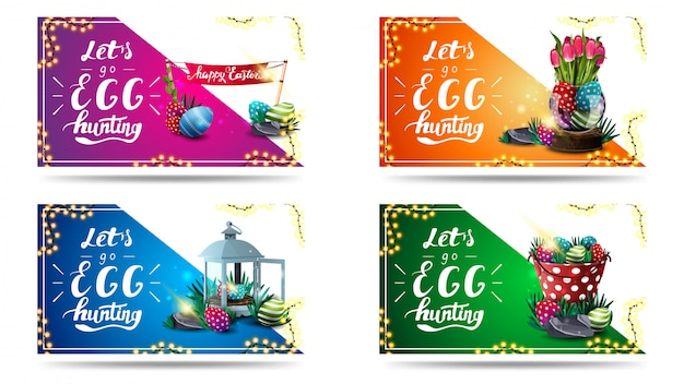 Let's go egg hunting, collection horizontal easter postcards with beautiful lettering, frame of garland and easter icons.