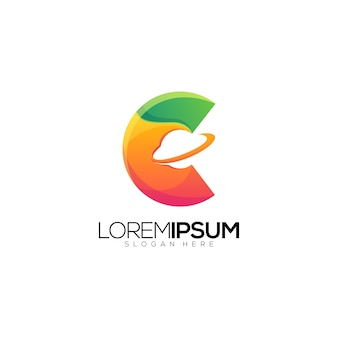 Leter c met planeet saturn logo