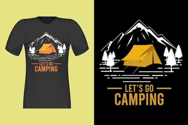 Lets go camping handgetekende retro vintage t-shirt design