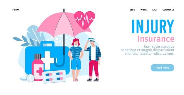 Letsel medische ziektekostenverzekering site banner sjabloon platte vectorillustratie