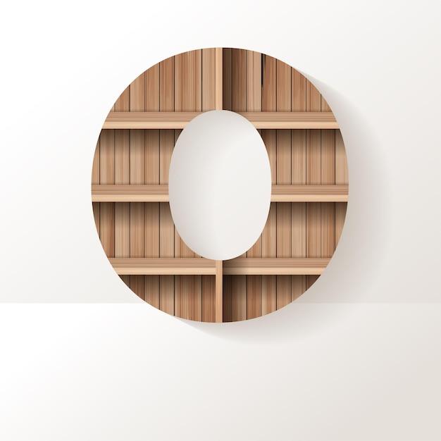 Letter 0 ontwerp van houten plank