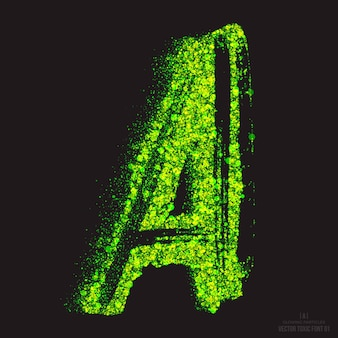 Letter a bright green shimmer scatter particles toxic acid glowing font
