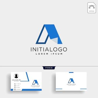 Letter a creatieve logo sjabloon met sjabloon voor visitekaartjes