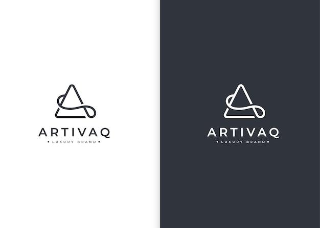 Letter a driehoek minimalistisch logo ontwerpsjabloon
