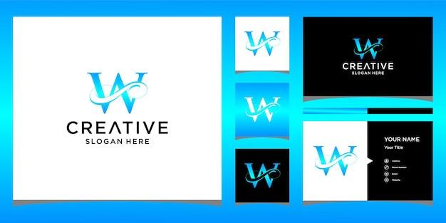 Letter a elegant logo-ontwerp met visitekaartjeontwerp