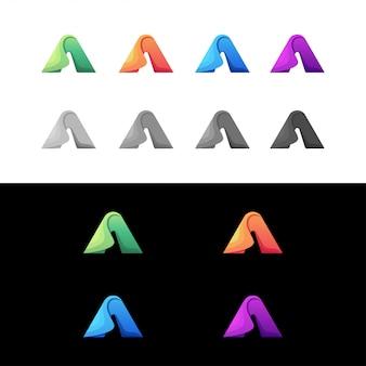 Letter a ingesteld kleurrijk logo
