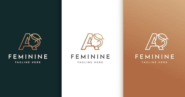 Letter a-logo-ontwerp met het gezicht van de vrouw