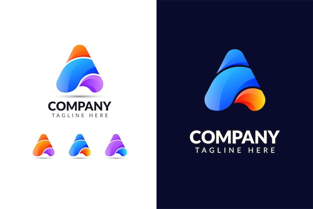 Letter a logo ontwerpsjabloon met driehoekige vorm