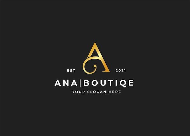 Letter a luxe boutique logo ontwerpsjabloon
