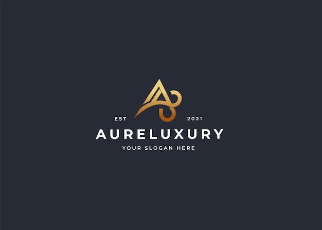 Letter a luxe logo ontwerpsjabloon
