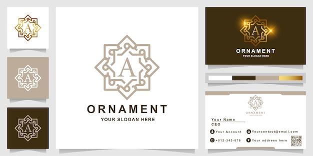 Letter a luxe sieraad frame logo sjabloon met visitekaartje ontwerp.