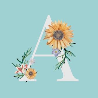 Letter a met bloemen