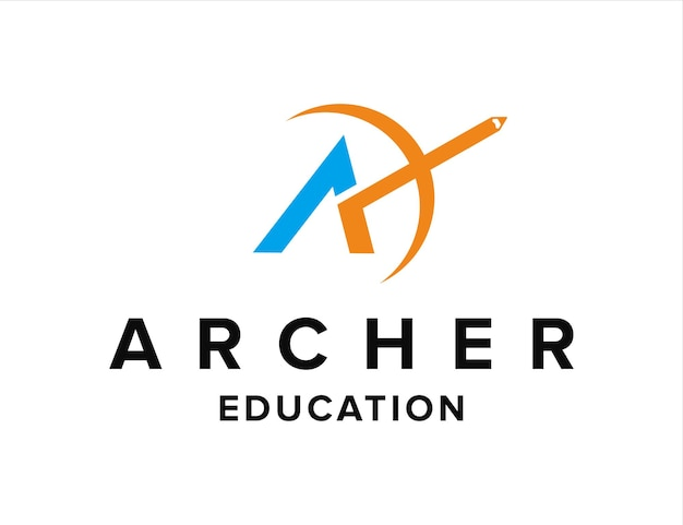 Letter a met boog en potlood voor onderwijs eenvoudig creatief geometrisch strak modern logo-ontwerp