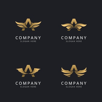 Letter a met luxe abstracte vleugel logo sjabloon