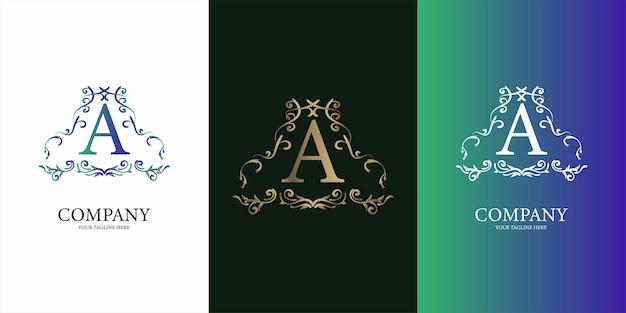 Letter a met luxe sieraad bloemen frame gouden logo sjabloon.