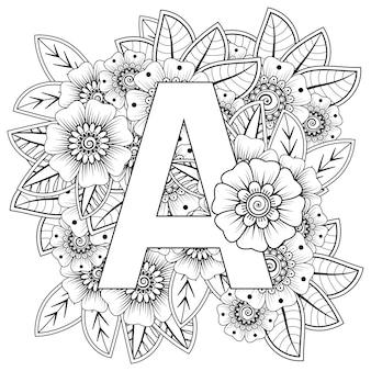 Letter a met mehndi bloem decoratief ornament in etnische oosterse stijl kleurplaat coloring