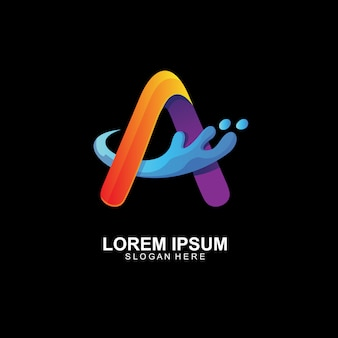 Letter a met splash logo-ontwerp