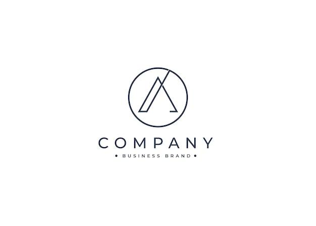 Letter a minimalistisch logo-ontwerp met cirkelvorm