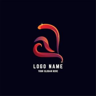 Letter a of aa abstract logo-ontwerp met verloopkleur