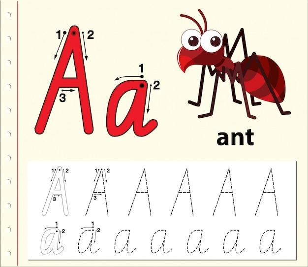 Letter a tracing alfabet werkbladen