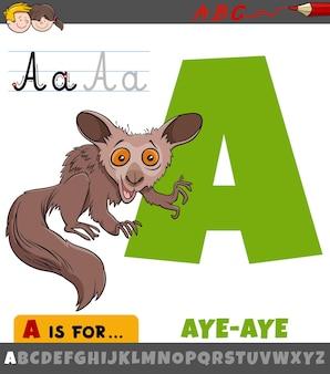 Letter a uit alfabet met aye-aye dierlijk stripfiguur