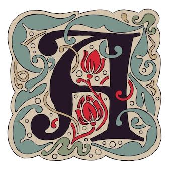 Letter a vintage kleuren antiek gotisch eerste logo.