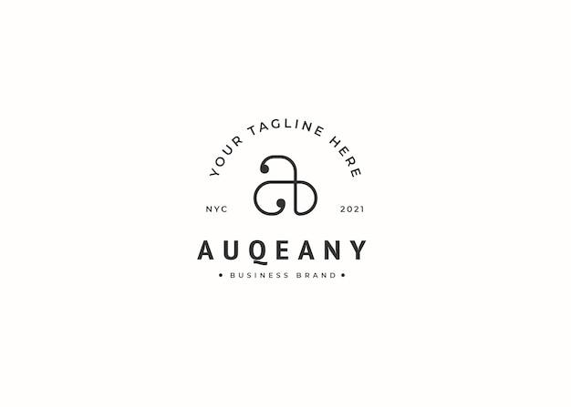 Letter a vintage stijl logo ontwerpsjabloon
