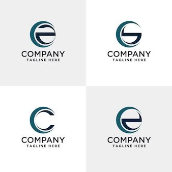 Letter abc en d modern logo binnen de cirkel